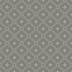 White and Dark Gray Fleur-De-Lis Pattern Textured Fabric Backgro