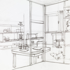 interior sketch of living room