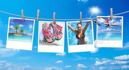 Urlaubsreif, Polaroid mit Urlaubsbildern