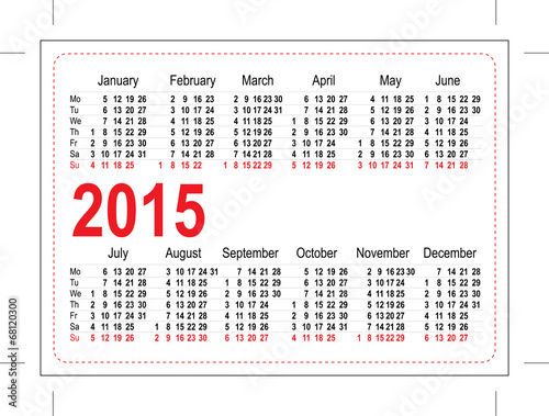 Template Pocket Calendar 2015 Stock Image And Royalty Free Vector