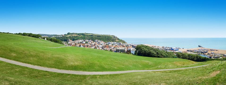 panoramic view over Hastings UK
