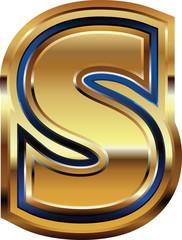 Golden Font Letter S