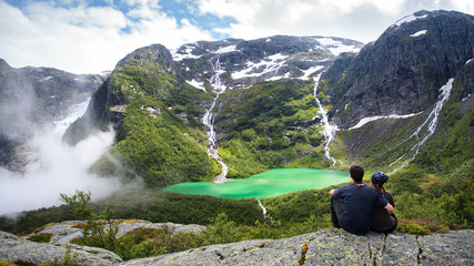 Couple in embrace of the Norwegian mountains