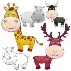 five animals on white background