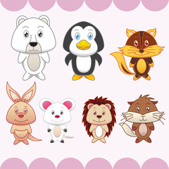 seven animals on pink background