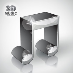 Funky metallic musical note 3d modern style icon