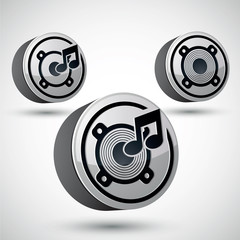 Speaker icon isolated, 3d vector music theme
