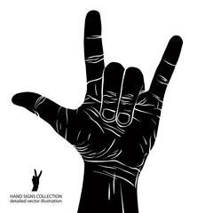 Rock on hand sign, rock n roll, hard rock, heavy metal, music