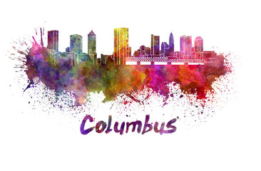 Fototapete - Columbus skyline in watercolor