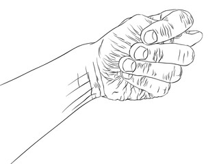 Fig fico hand sign, detailed black and white lines vector