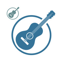 Acoustic guitar music icons isolated.