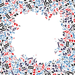 Music frame made with notes.