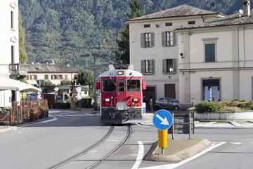 Train in Tirano city, Italy.