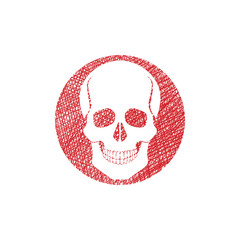 Scull vector icon with hand drawn lines texture.