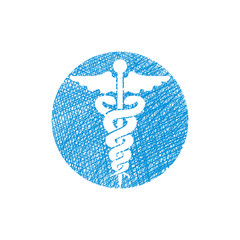 Caduceus medical vector icon with hand drawn lines texture.