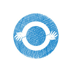 Two hands round abstract symbol, vector icon with hand drawn
