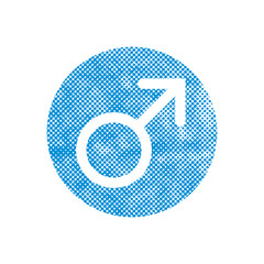 Male symbol Mars vector icon with pixel print halftone dots