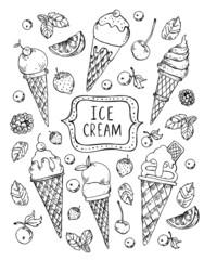 Vector vintage hand drawn sketch ice cream