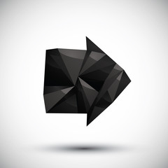 Black arrow geometric icon made in 3d modern style