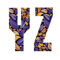 Beautiful floral alphabet, letters Y and Z.