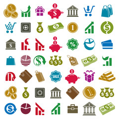 Money icons isolated on white background vector set