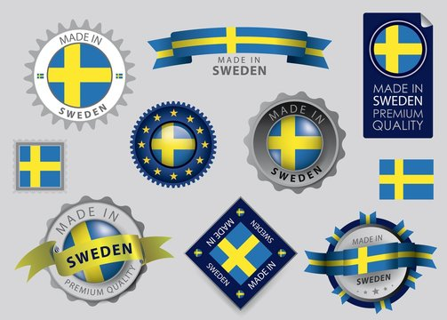 Made in Sweden Seal, Swedish flag (vector Art)