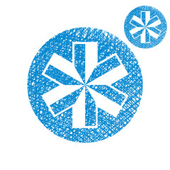 Blue-white snowflake vector simple single color icon isolated