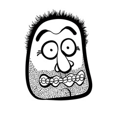 Shocked cartoon face with stubble, black and white