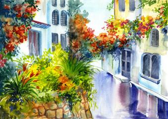 Obraz watercolor painting - flowers near the house - fototapety do salonu