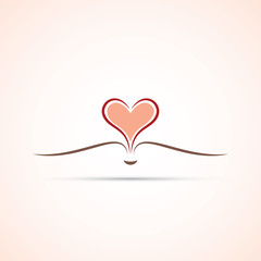 Open Book Icon With Heart Shaped Pages - Icon Design