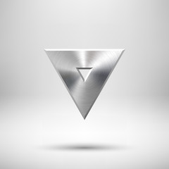 Fototapete - Abstract Triangle Button Template with Metal Texture