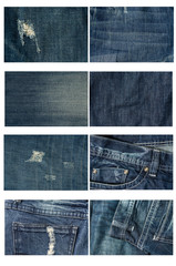 Collection of Highly detailed of jeans. background and texture