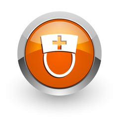 nurse orange glossy web icon