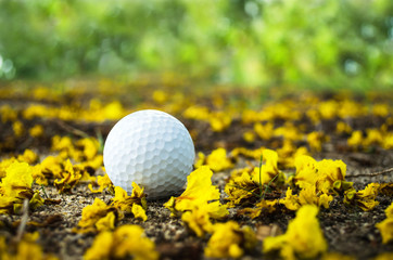 golfball with yellow flower
