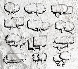 Speech Bubble background design on Cement wall texture backgroun