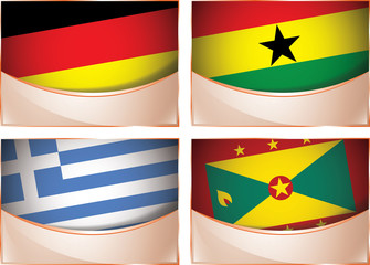 Flags illustration, Germany, Ghana, Greece, Grenada