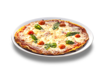 pizza with ham, tomatoes and cheese