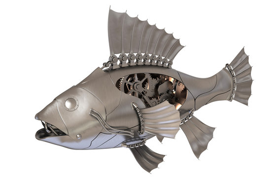 Steampunk Fish isolated on white