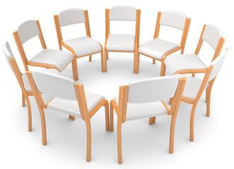 weisse Stühle im Kreis