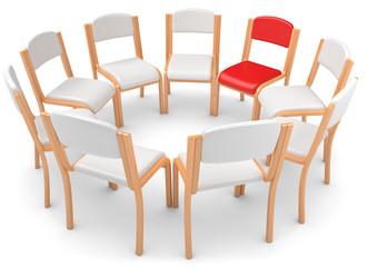 weisser Stuhlkreis roter Stuhl