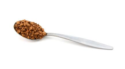 Metal teaspoon measure of instant coffee granules