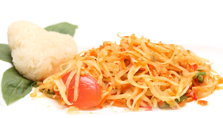 green papaya salad and sticky rice isolated on white background