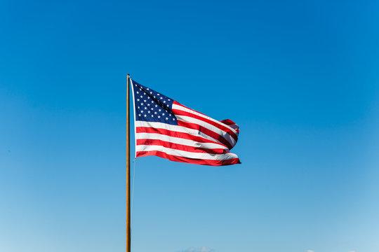 American Flag on Old Flagpole