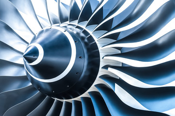 blue toned jet engine blades closeup