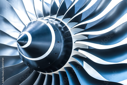 Wall mural blue toned jet engine blades closeup