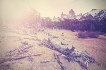 Vintage mountain background with Fitz Roy Range, Argentina