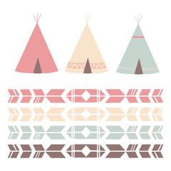 Colorful Teepee and Pattern in Pastel Colors