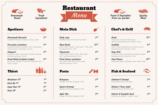 restaurant food menu design template