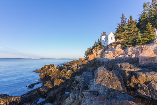 Bass Harbor lighthouse  in the morning sunlight