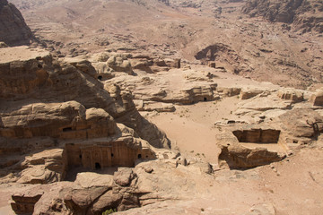 Old tombs and temples in Petra, Jordan